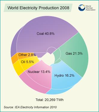 Questo è un grafico della produzione mondiale di energia elettrica del 2008 a distanza di 5 anni sono aumentate le energie rinnovabili, ma il carbone (viola) continua a primeggiare