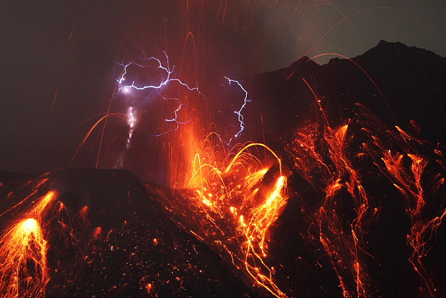Lava e Fulmini sul monte Sakurajima #MeraviglieNaturali