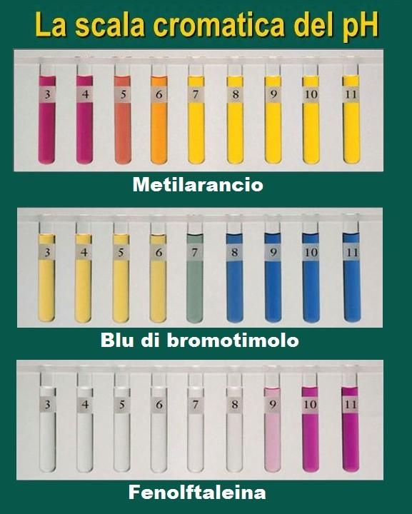 Scala cromatica dei pH degli indicatori